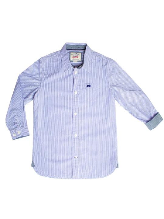 Raging Bull Long Sleeve Boys Stripe Shirt - Sky