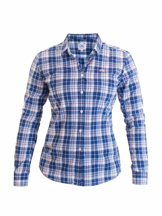 Raging Bull - Ladies Check Shirt - Navy