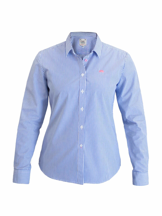 Raging Bull - Ladies Pinstripe Shirt - Cobalt