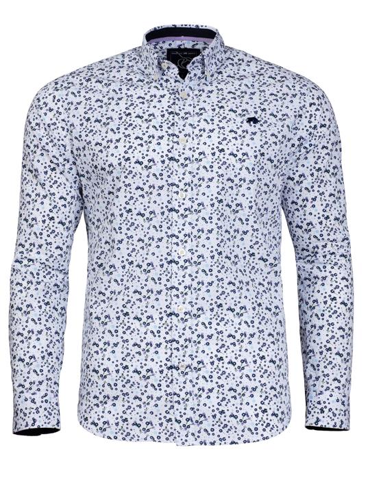Raging Bull Micro Floral Print Shirt - White