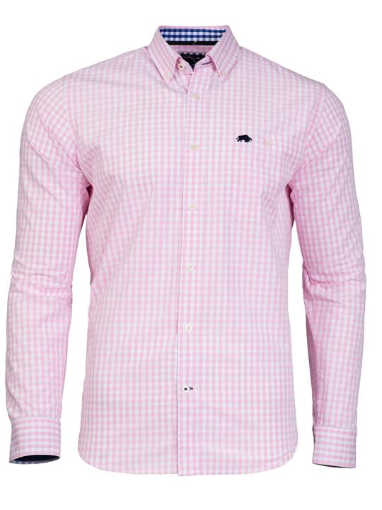 Raging Bull 2 Colour Gingham Shirt - Pink