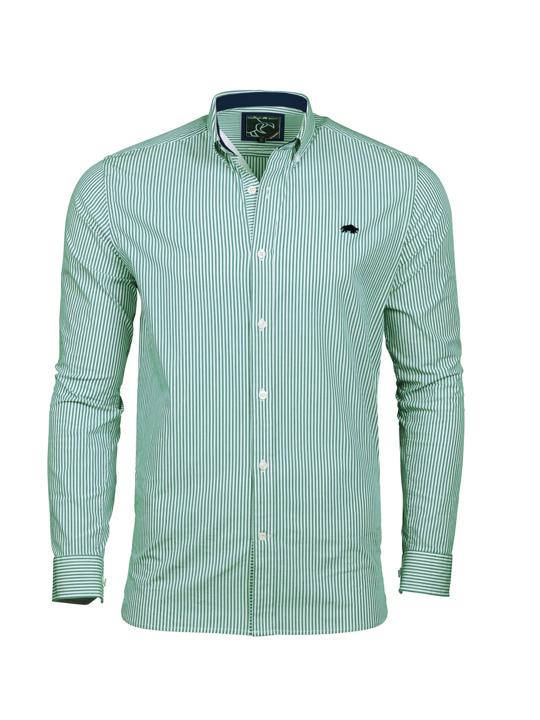 Raging Bull 2 Colour Stripe Shirt - Green