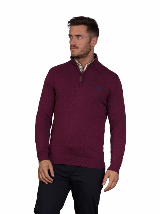 Raging Bull - Knitted Cotton/Cashmere Quarter Zip - Burgundy
