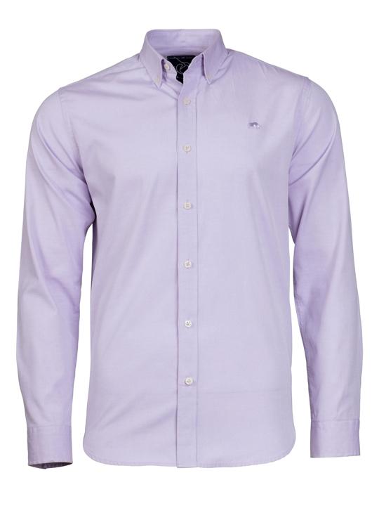 Raging Bull Long Sleeve Pinpoint Oxford Shirt  - Purple