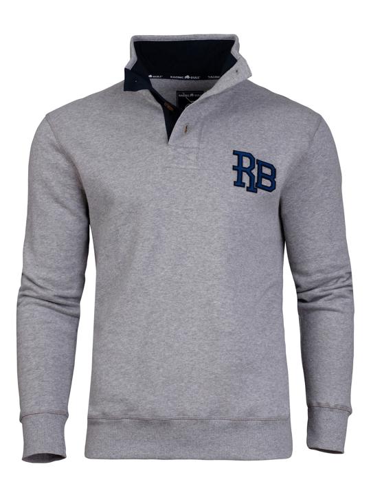 Raging Bull RB Applique Button Up Sweat - Dark Grey