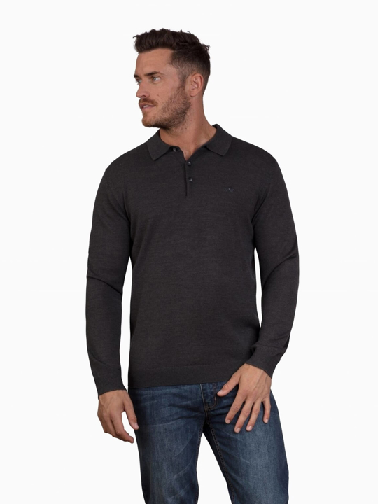 Raging Bull - Big & Tall - Long Sleeve Signature Knitted Polo - Charcoal
