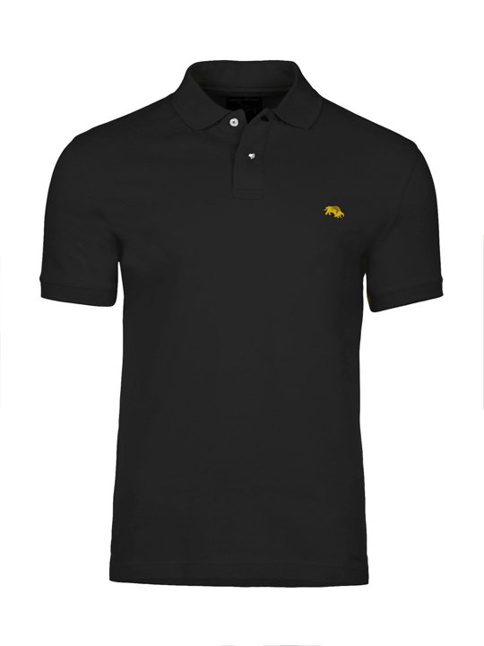 Raging Bull Slim Fit Plain Polo - Black