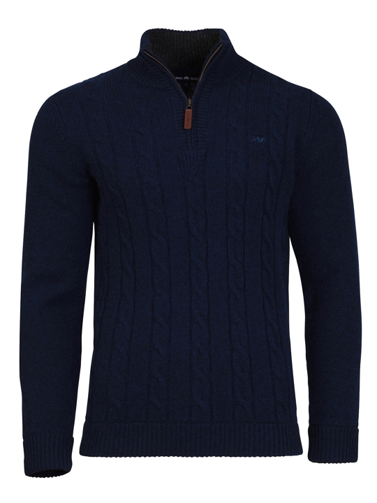 Raging Bull - Cable Knit 1/4 Zip - Navy