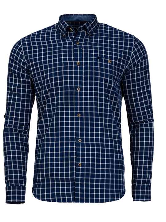 Raging Bull 2 Colour Check Shirt - Navy