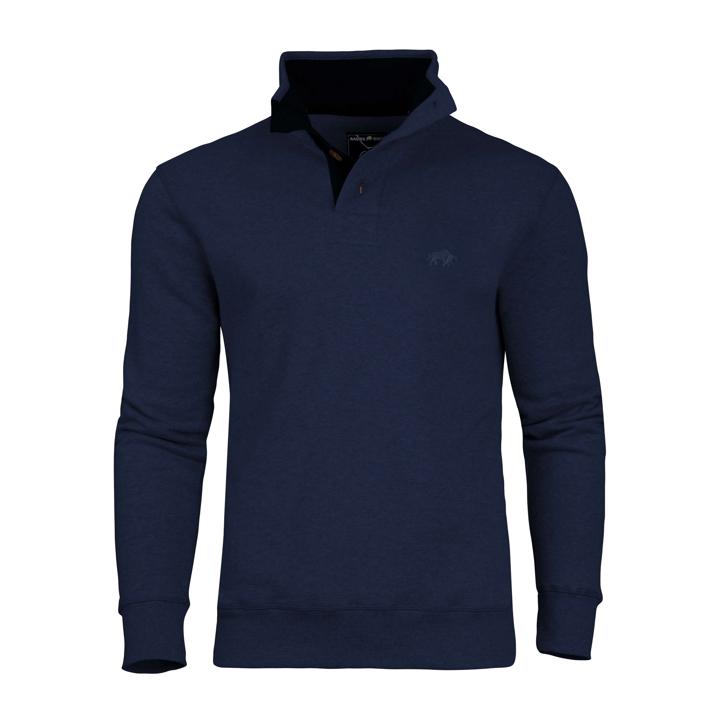Raging Bull Jersey Button Neck Sweat - Indigo