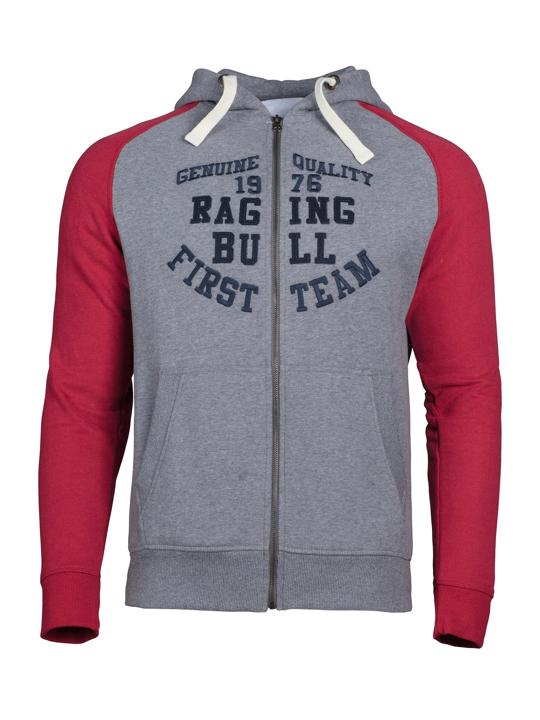 Raging Bull Contrast Sleeve Hoody - Grey/Red