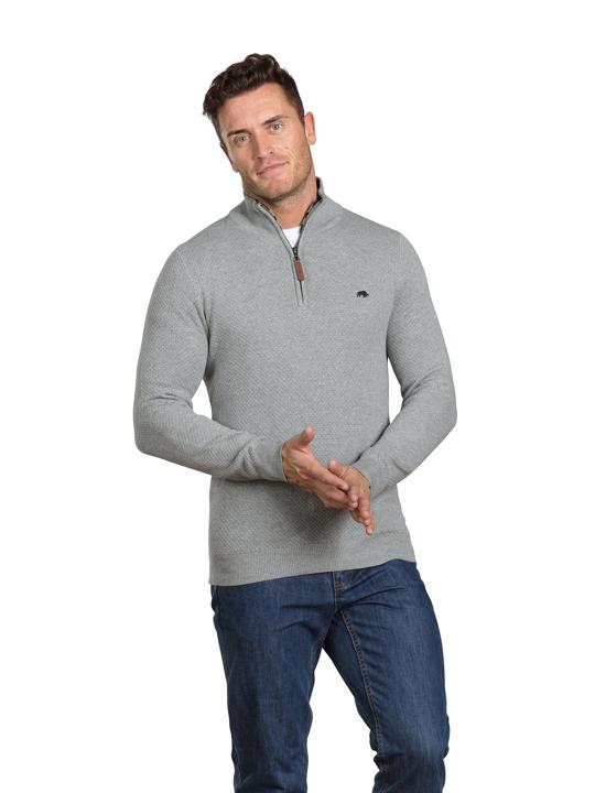 Raging Bull - Textured Knit Quarter Zip - Grey