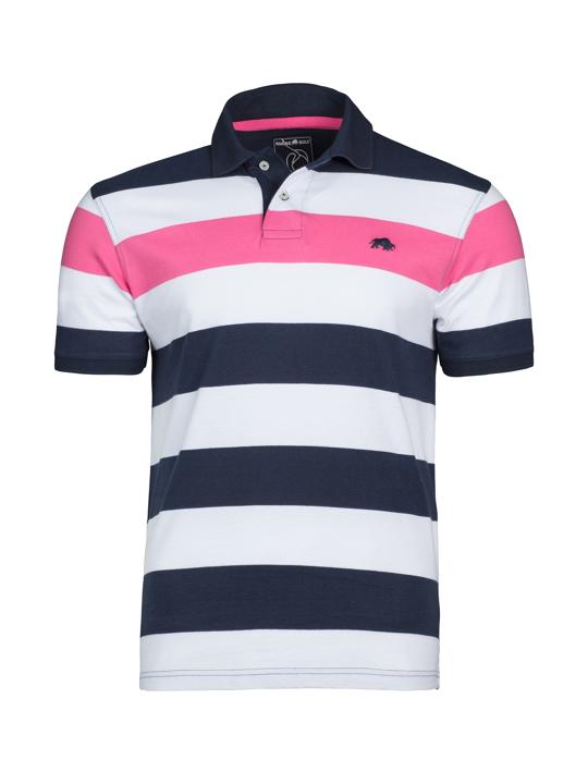 Raging Bull Contrast Stripe Polo - Vivid Pink
