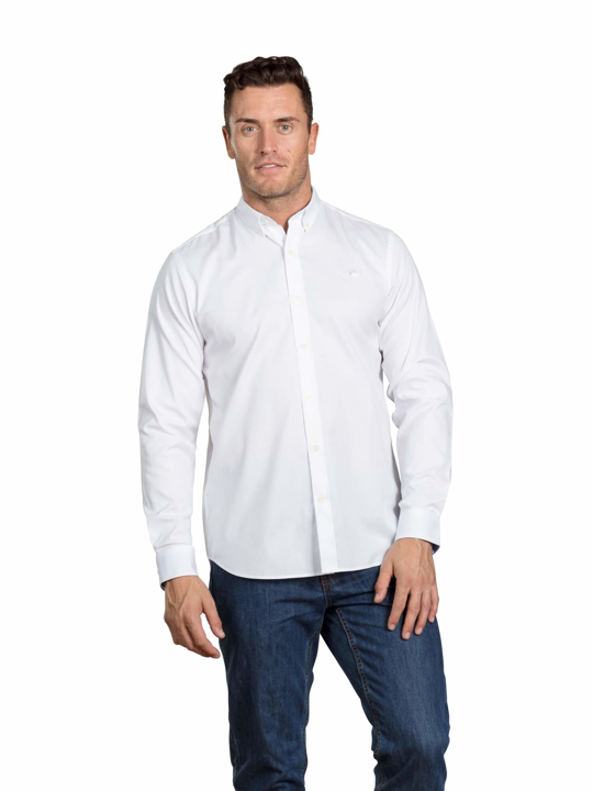 Raging Bull - Big & Tall - Long Sleeve Signature Oxford Shirt - White