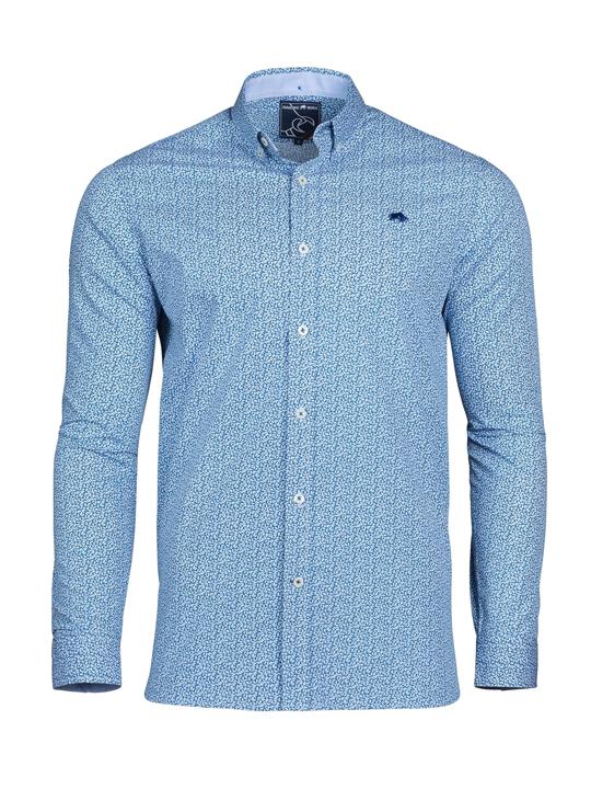 Raging Bull - Long Sleeve Micro Leaf Shirt - Cobalt