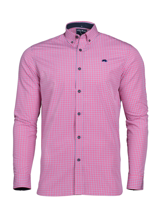 Raging Bull - Long Sleeve Micro Check Shirt - Vivid Pink