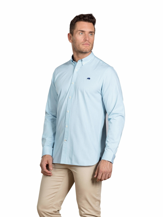 Raging Bull - Big & Tall - Long Sleeve Candy Stripe Shirt - Sea Blue