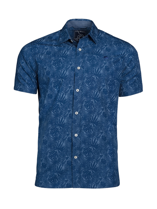 Raging Bull - Short Sleeve Hibiscus Print Shirt - Navy