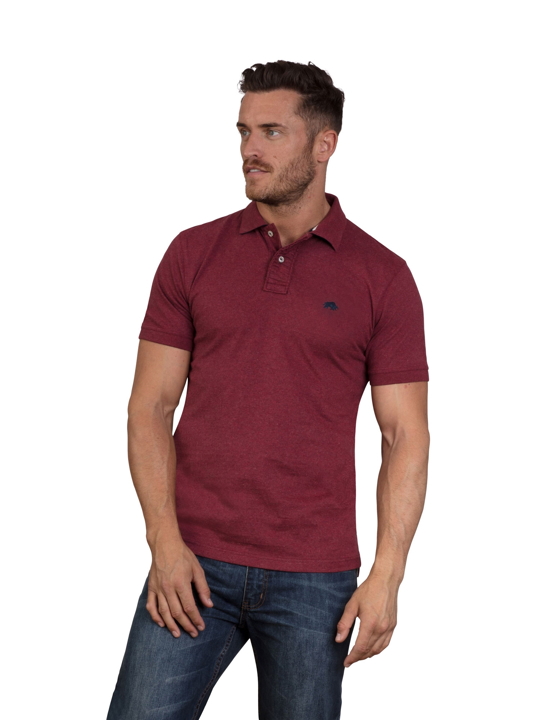 Raging Bull - Embroidered Marl Polo - Claret