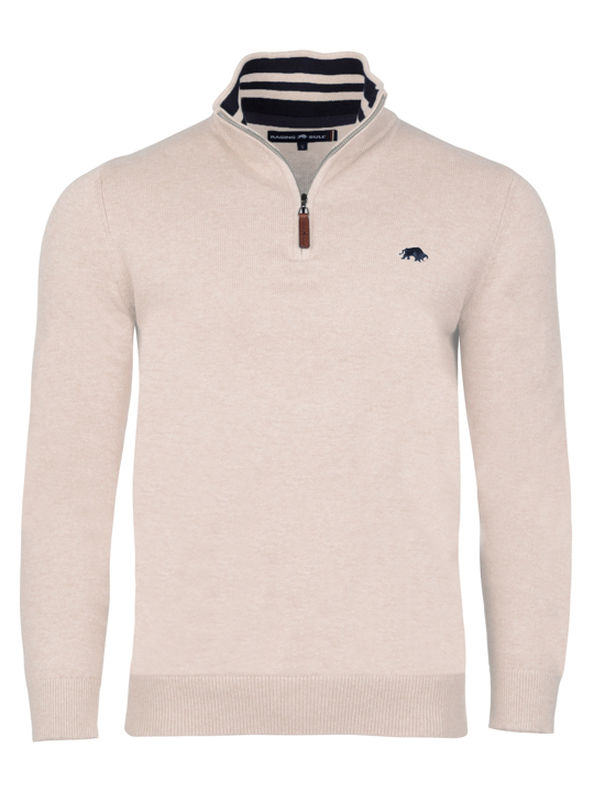 Raging Bull Knitted Cotton Cashmere 1/4 Zip - Oatmeal