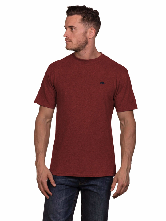 Model wearing quality claret t-shirt