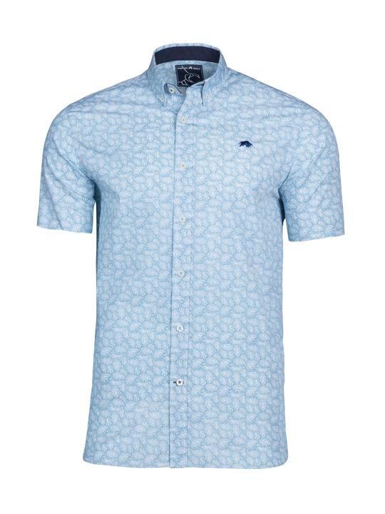 Raging Bull - Short Sleeve Paisley Print Shirt - Petrol