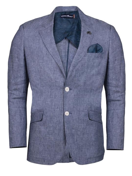 Raging Bull - Linen Check Blazer - Mid Blue