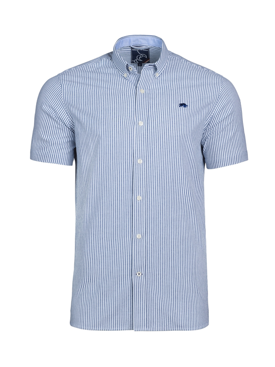 Raging Bull - Short Sleeve Seersucker Shirt - Navy