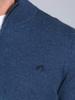 Raging Bull Knitted Cotton/Cashmere Quarter Zip - Midnight