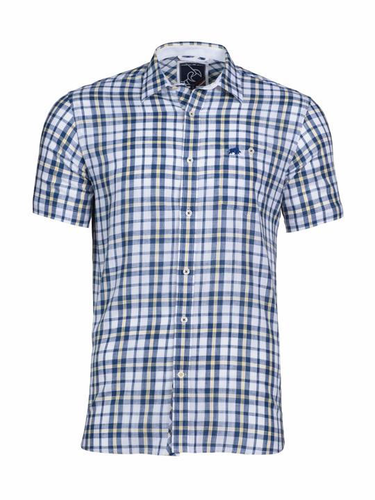 Raging Bull - Big & Tall - Short Sleeve Yarn Dyed Check Shirt - White