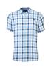 Raging Bull Short Sleeve Linen Look Check Shirt - Sky Blue