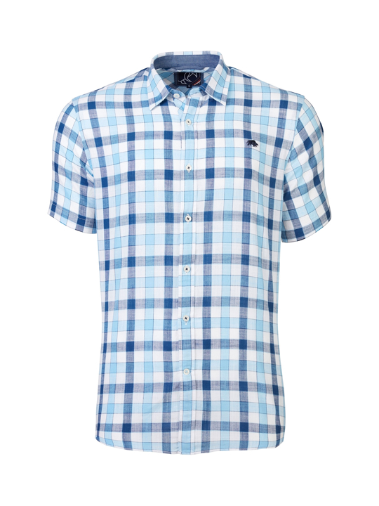 Raging Bull - Short Sleeve Linen Look Check Shirt - Sky Blue