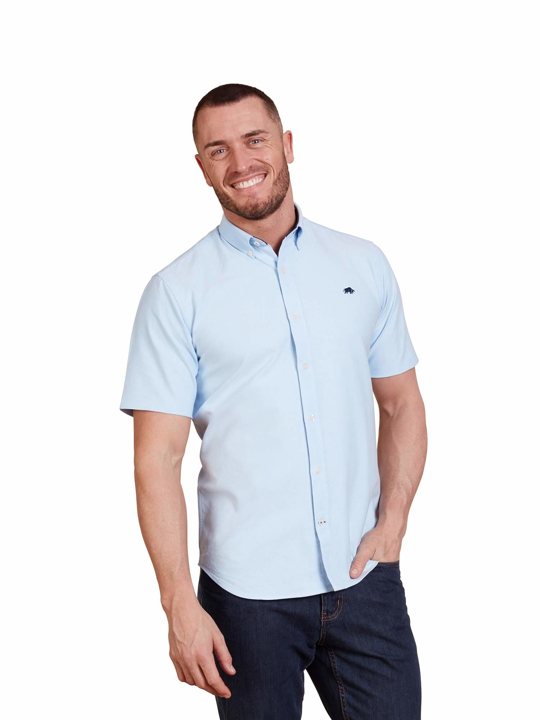 Raging Bull - Big & Tall - Short Sleeve Signature Poplin Shirt - Sky Blue
