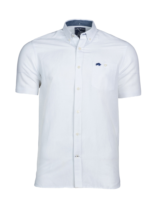 Raging Bull - Short Sleeve Linen Shirt - White