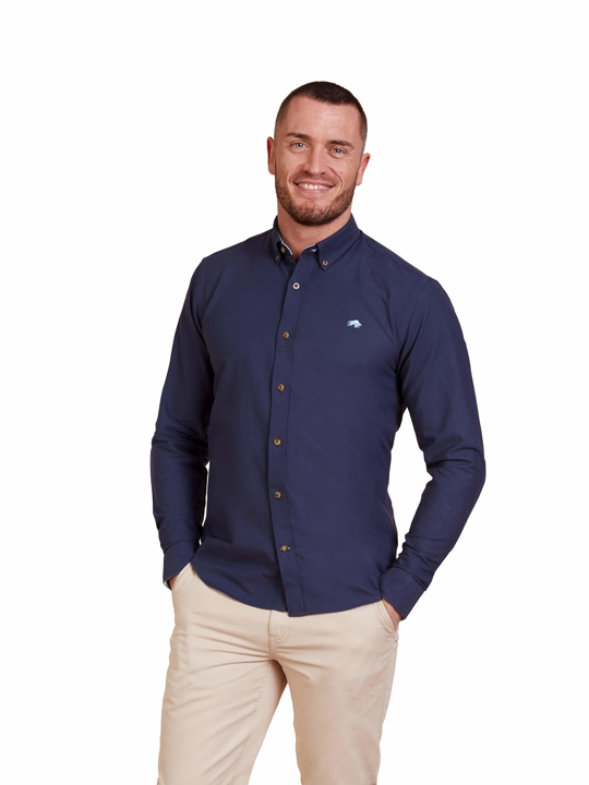 Raging Bull - Big & Tall - Long Sleeve Signature Oxford Shirt - Navy