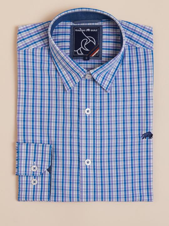 Raging Bull - Long Sleeve 3 Colour Check Shirt - Pastel Purple