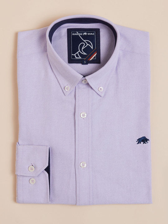 Raging Bull - Long Sleeve Signature Oxford Shirt - Purple