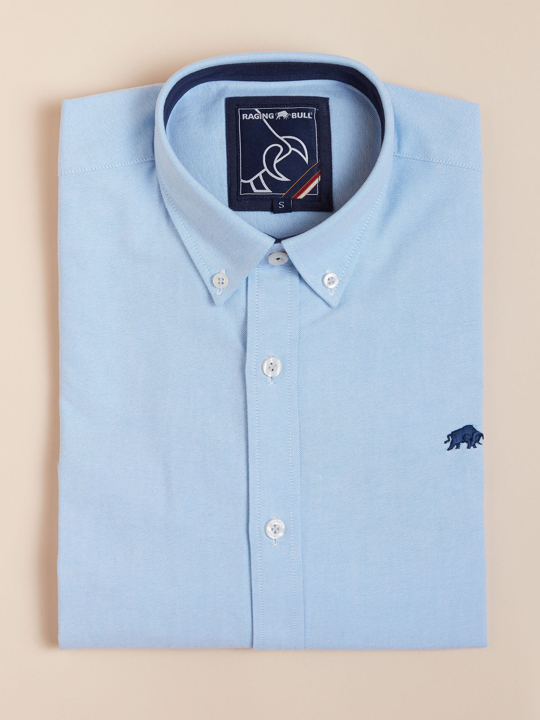 Raging Bull - Long Sleeve Signature Oxford Shirt - Sky Blue
