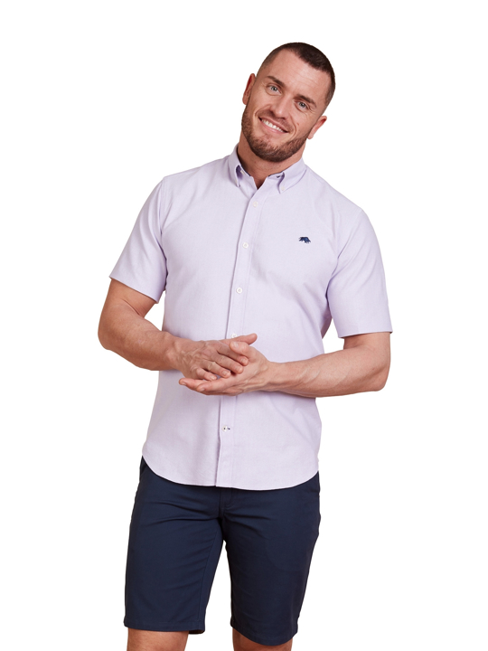Raging Bull - Short Sleeve Signature Oxford Shirt - Purple