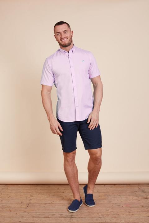 Raging Bull - Short Sleeve Signature Oxford Shirt - Pink