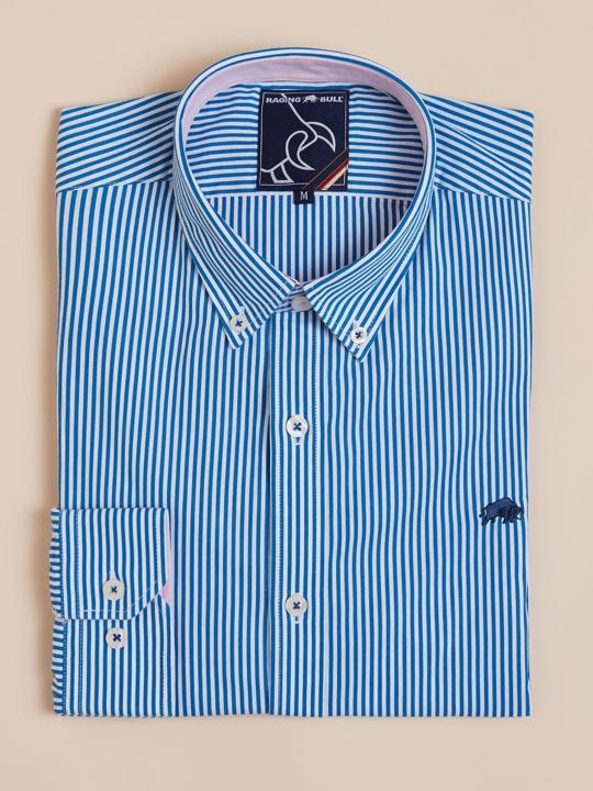 Raging Bull - Long Sleeve Candy Stripe Shirt - Cobalt