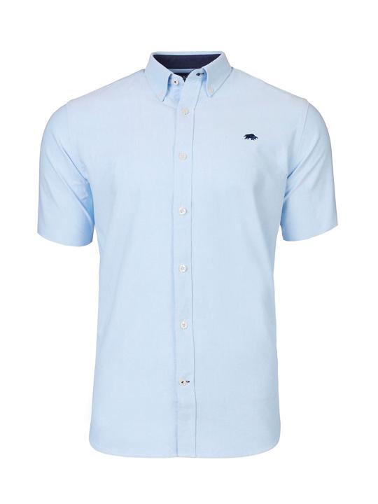 Raging Bull - Short Sleeve Signature Oxford Shirt - Sky Blue
