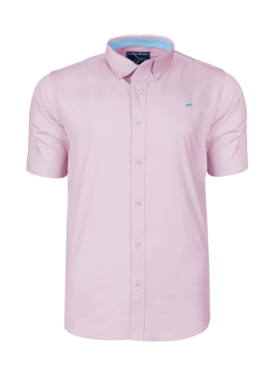 Raging Bull Short Sleeve Signature Oxford Shirt - Pink
