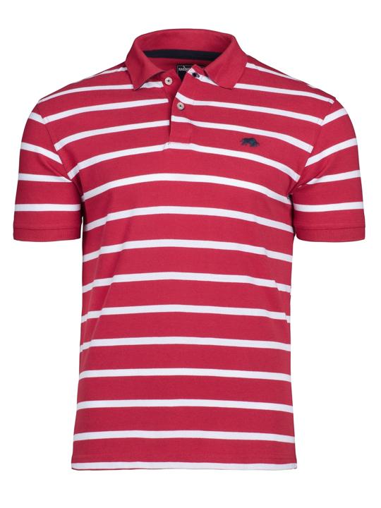 Raging Bull Breton Stripe Polo - Red