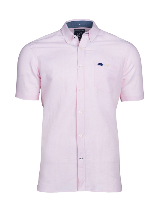 Raging Bull - Short Sleeve Linen Shirt - Pink