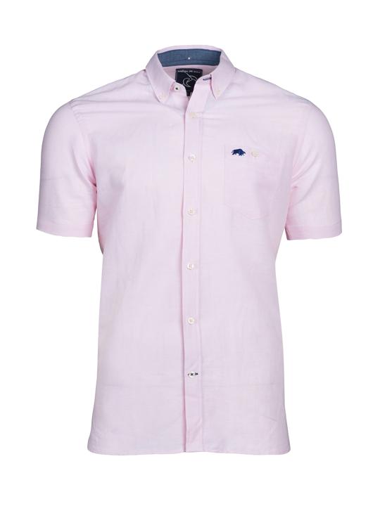 Raging Bull - Short Sleeve Linen Shirt - Pink