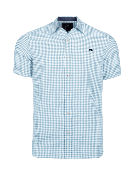 Raging Bull - Short Sleeve Linen Look Gingham Shirt - Sky Blue