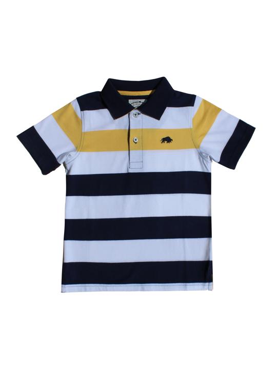 Raging Bull - Kids Contrast Stripe Polo - White/Navy