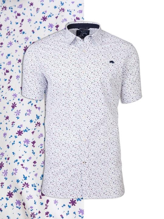 Raging Bull - Short Sleeve Ditzy Floral Print Shirt - White/Purple