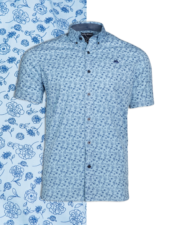 Raging Bull - Short Sleeve Floral Print Shirt - Sky Blue